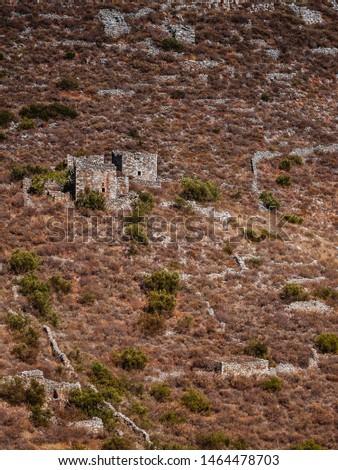 Greece Mani Peninsula. Traditional style stone tower house. Laconia Peloponnese, Europe