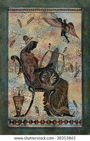 Greece mural painting woman mythical muse harp stock for Ancient greek mural
