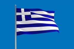 Greece national flag waving in the wind on a deep blue sky. High quality fabric. International relations concept.