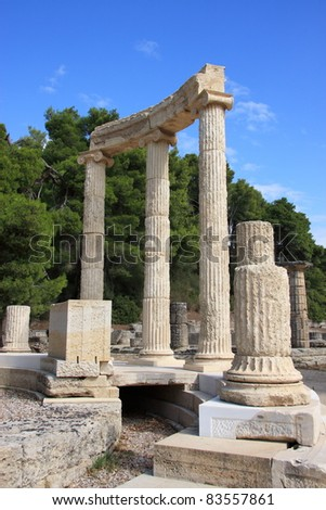 Greece Olympia ancient ruins of the important Philippeion in Olympia birthplace of the olympic games - UNESCO world heritage site