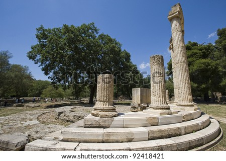 Greece Olympia ancient ruins of the important Philippeion in Olympia  - UNESCO world heritage site