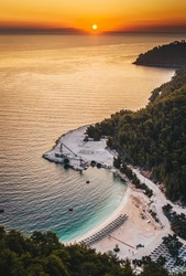 Greece paradise island Thassos at sunrise near Marble Beach