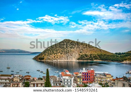 Greece,Peloponesse,Tolo town near Nafplion city. View of the sea and a small island Stock fotó ©
