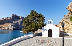 Greece. Rhodes. Church of St. Paul and the ancient Acropolis of Lindos