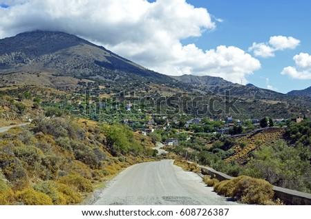 Greece, Samothrace Island, mountain road to village Lakoma Stock fotó ©