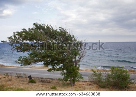 Greece, Samothrace, landscape on a windy day close to Kastro on the island in aegean sea.
