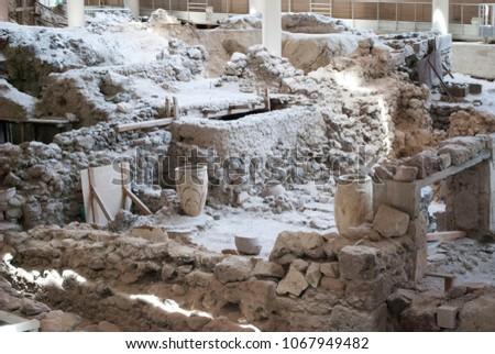 Greece, Santorini. Archaeological excavations in Akrotiri