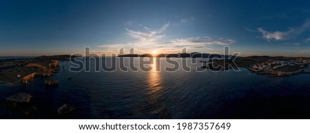 Greece, small Cyclades islands, aerial drone panoramic view at sunset. Koufonisia ano and kato white traditional village buildings, Calm sea, clear sky background. Foto stock ©
