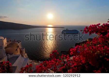 greece, sunset santorini island.Caldera view is summer