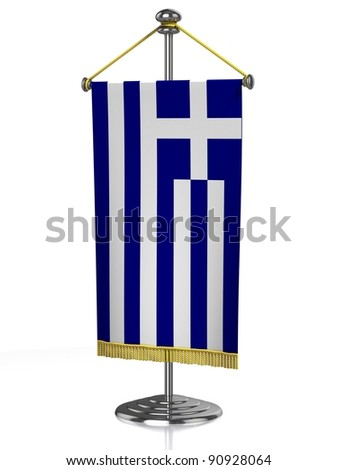 Greece table flag isolated on white