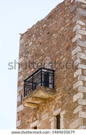 Greece Vatheia village. Old abandoned tower house with balcony in Vathia Mani Peninsula Laconia Peloponnese, Europe.