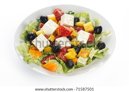 Greece vegetable salad on white background - stock photo