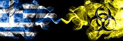 Greece vs Biohazard, virus, covid19 smoky mystic flags placed side by side. Thick colored silky abstract smoke flags.
