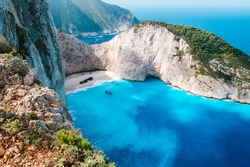 Greece, Zakynthos. Stranded panagiotis freightliner ship in navagio beach from top view