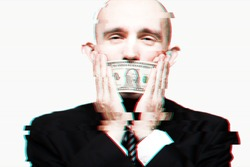 Greed and corruption concept: Businessman closing his mouth with one dollar bill. Glitch effect