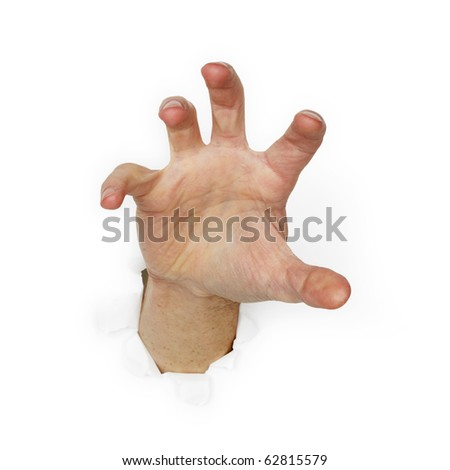 Greedy man's hand isolated on white background