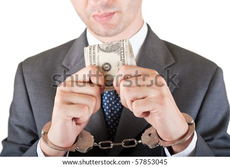 greedy manager with cash and handcuffs