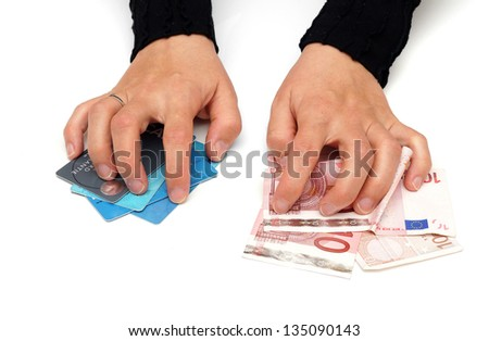 greedy woman is grabbing money and credit cards
