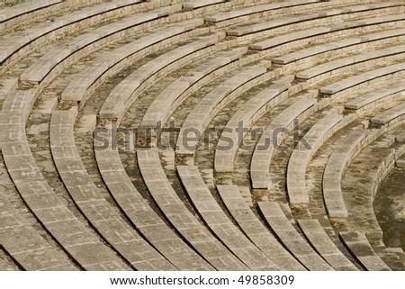 Greek amphitheater seats in Barcelona, Spain.