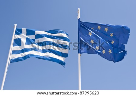Greek and european flag