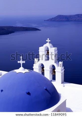 Greek church overlooking the bay of Santorini, Greece
