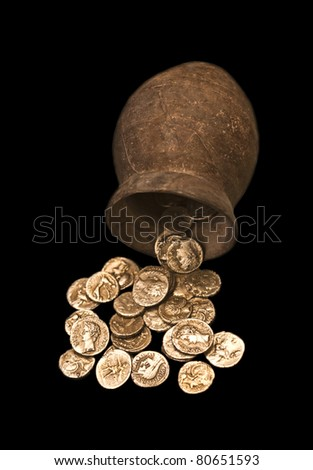 Greek coins found in the ruins of Ampurias, Spain - stock photo