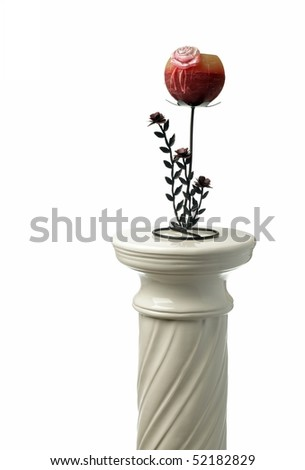 greek column and candlestick isolated on white