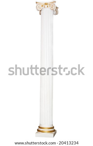Greek column with golden borders, isolated on white - stock photo