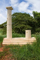 Greek columns tribute monument located at Sao Paulo's countryside. Frontal picture of Atena Park's preliminary study