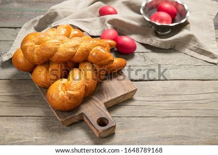 Greek easter buns. Greek. Italian Easter. Traditional easter bread. Easter eggs