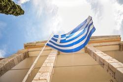 Greek Flag outside of Nikiforeio Junior High School at Kalymnos Island