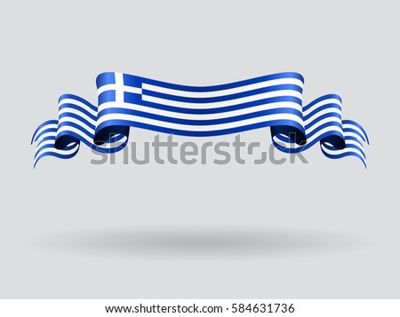 Greek flag wavy abstract background. Raster version.