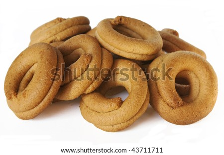 Greek grape juice biscuits isolated over white.