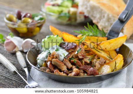Greek Gyros with tzatziki and fried potatoes