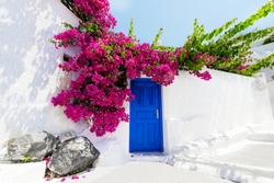 Greek house with bougainvillaea in Santorini, Greece