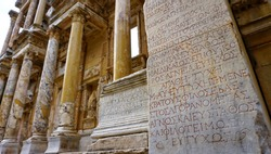Greek inscription in Celsus Library at Ephesus ancient Greek city on the coast of Ionia, Turkey