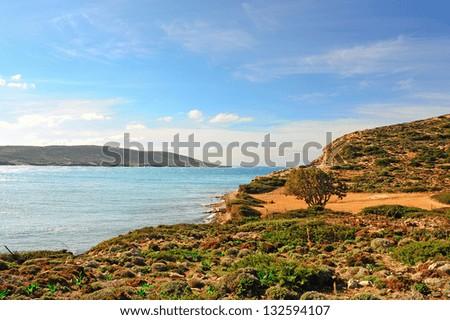 Greek Island of Rhodes With The Rugged Coast