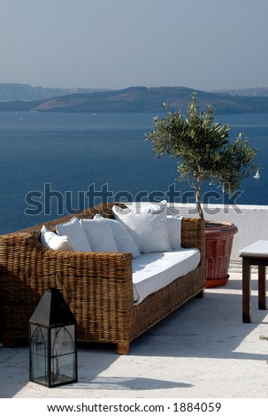 greek island scenic view from patio with sofa santorini