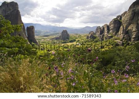 greek landscape of Meteora in summer
