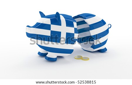 Greek money pig breaked illustration rendering