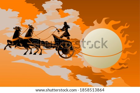 greek mythology apollo with chariot and the sun Photo stock ©