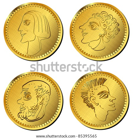 Greek or roman, coins with stylized characters, isolated objects over white