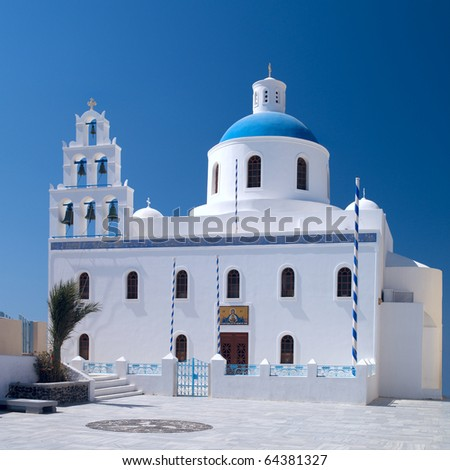 Greek orthodox church in Oia village on Santorini