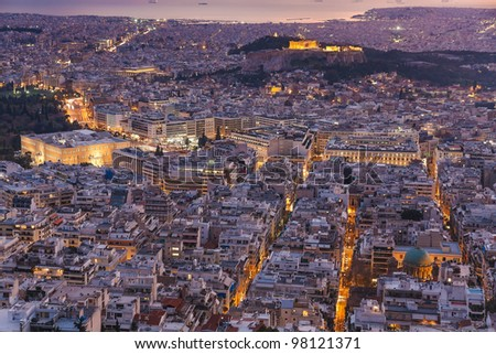 Greek Parliament and Parthenon aerial view in the afternoon