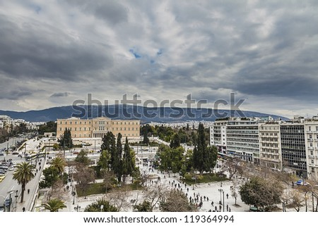 Greek Parliament in front of Syntagma Square in Athens ,Greece