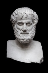 Greek Philosopher Aristotle Sculpture Isolated on Black Background