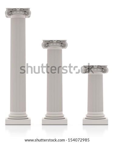 Greek Pillars three Size, Isolated on White Background