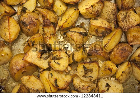 Greek Potatoes. Oven-Roasted and Delicious! - stock photo