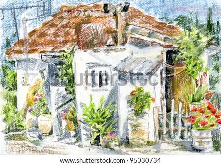 Greek rural little house, surrounded by potted plants, in Greek village on Zakynthos island.
