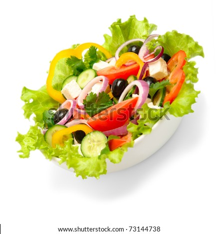 greek salad isolated on white background